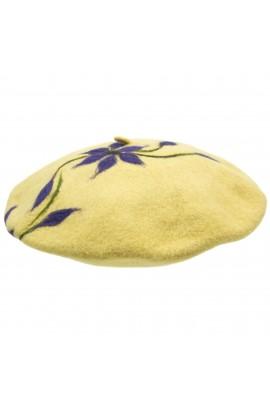 Bereta de dama, din 100% lana pura, Evila, Galben cu flori mov  - BSC251