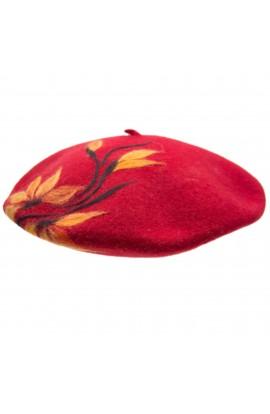 Bereta de dama, din 100% lana pura, Evila, Rosu cu flori - BSC252