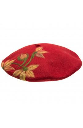 Bereta de dama, din 100% lana pura, Evila, Rosu cu flori - BSC253