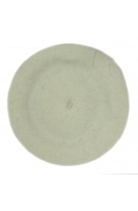 Bereta de dama, Alb Ivoar cu floare, 100% lana - BSC287