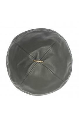 Bereta de dama, din piele ecologica, Gri cu accesoriu metalic auriu - BSC290