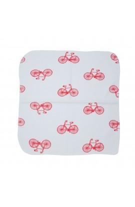 Batista bebelusi, 100% bumbac, 29x29 cm, Alb cu biciclete rosii