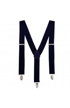 Bretele adulti unisex, albastru, cu inchizatori metalice, 35 mm