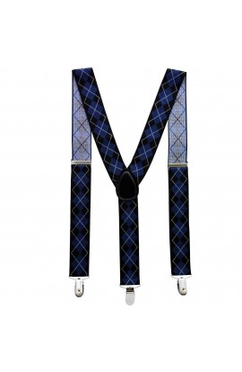 Bretele adulti unisex, carouri bluemarin, cu inchizatori metalice, 35 mm