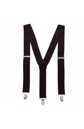 Bretele adulti unisex, maro inchis, cu inchizatori metalice, 35 mm, BUMIM