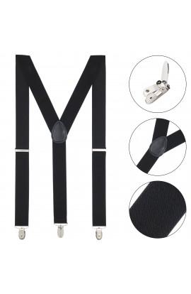 Bretele adulti unisex, negru, cu inchizatori metalice, 35 mm, BUNEM