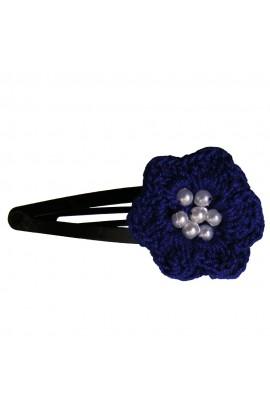 Clama de par, dama, Buticcochet, crosetata manual, Floare Albastru, cu Bilute Albe