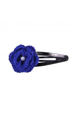 Clama de par, fetite, Buticcochet, crosetata manual, Floare Albastra, cu Biluta Alba