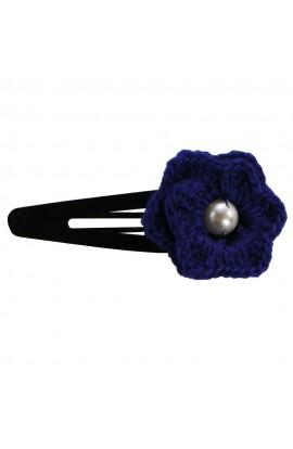 Clama de par, dama, Buticcochet, crosetata manual, Floare Albastru, cu Perla Alba