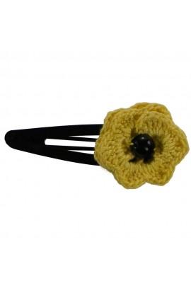 Clama de par, dama, Buticcochet, crosetata manual, Floare Galben, cu Perla Neagra, CMGBNG11
