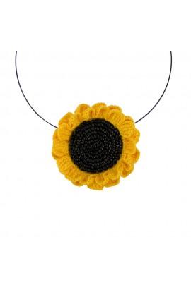 Colier Floarea Soarelui, dama, Buticcochet, crosetat manual, Galben Intens, COFLSR15