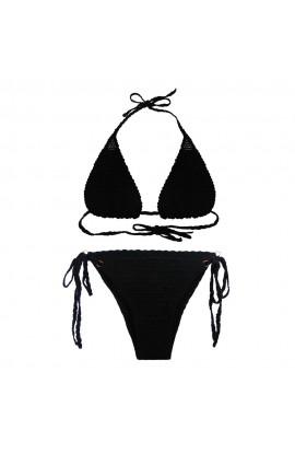 Costum de baie, dama, Buticcochet, crosetat manual, Negru