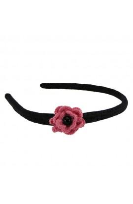 Cordeluta de par, dama, Buticcochet, crosetata manual,  Negru, cu floare Roz