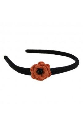 Cordeluta de par, dama, Buticcochet, crosetata manual,  Negru, cu floare Portocaliu
