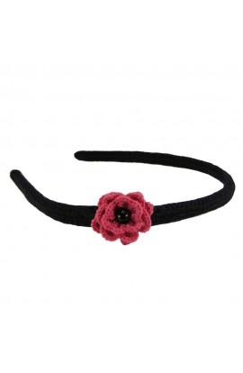 Cordeluta de par, dama, Buticcochet, crosetata manual,  Negru, cu floare Roz Bonbon