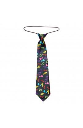 Cravata pentru copii, Buticcochet, Negru cu note muzicale multicolore, din material sintetic, 28 cm - CRV204