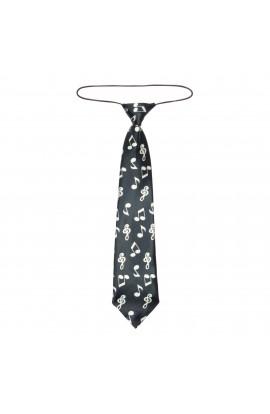 Cravata pentru copii, Buticcochet, Negru cu note muzicale albe, din material sintetic, 28 cm - CRV205