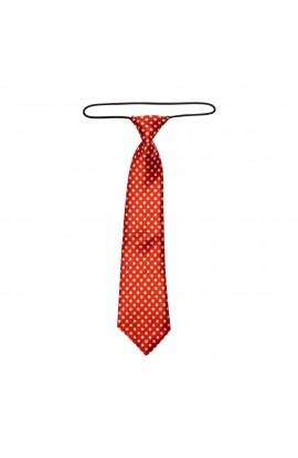 Cravata pentru copii, Buticcochet, Rosu cu buline albe, din material sintetic, 28 cm - CRV208