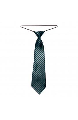 Cravata pentru copii, Buticcochet, Negru cu buline bleu, din material sintetic, 28 cm - CRV210