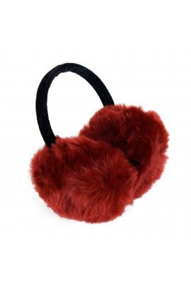 Casti protectie urechi, dama, pentru iarna, Visiniu cu blanita, CSIA205