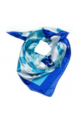 Esarfa, Batic, de dama, Albastru cu fluturasi, 50x50 cm - ES133