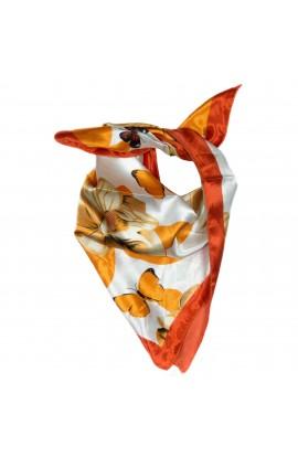Esarfa, Batic, de dama, Portocaliu cu fluturasi, 50x50 cm - ES134