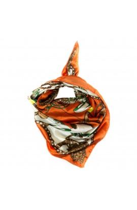 Esarfa, Batic, de dama, Portocaliu cu trasura, 50x50 cm - ES152
