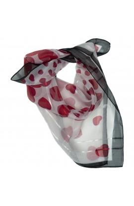 Esarfa, Batic, de dama, cu inimioare, 50x50 cm - ES168