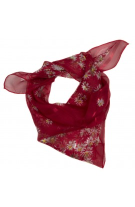 Esarfa, Batic, de dama, Rosu cu floricele, 50x50 cm - ES170