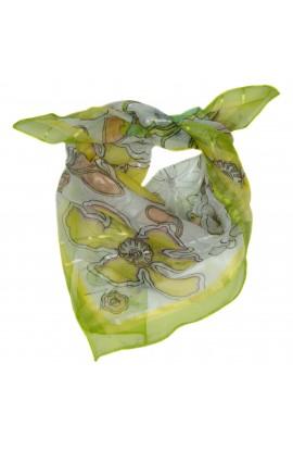 Esarfa, Batic, de dama, verde cu floricele, 50x50 cm - ES171