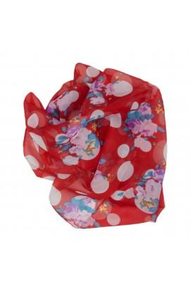Esarfa, Batic, de dama, Buticcochet, cu buline si trandafiri, 60x60 cm - ES340