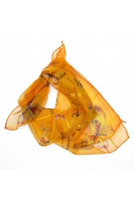 Esarfa, Batic, de dama,Buticcochet, Portocaliu cu fluturasi, 50x50 cm - ES403