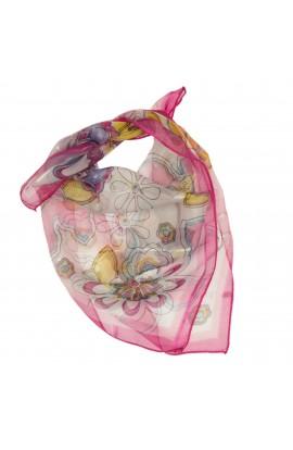 Esarfa, Batic, de dama, roz cu imprimeu floral, 50x50 cm - ES468