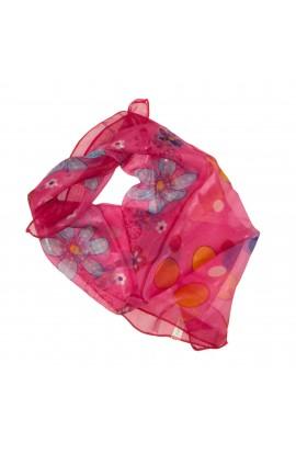 Esarfa, Batic, de dama, roz cu imprimeu floral, 50x50 cm - ES469