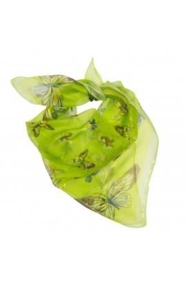 Esarfa, Batic, de dama, Verde cu fluturasi, 50x50 cm - ES470