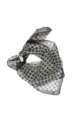 Esarfa, Batic, de dama, Crem cu buline maro, 50x50 cm - ES489