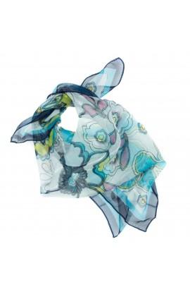 Esarfa, Batic, de dama, Albastru, cu model floral, 50x50 cm - ES663