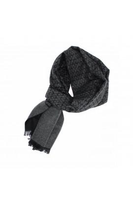 Esarfa barbati, din 100% casmir / pashmina, Negru cu gri, 30 x 188 cm - ES713