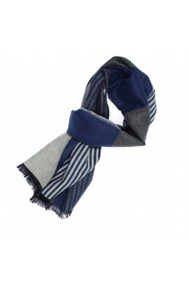 Esarfa barbati, din 100% casmir / pashmina, Gri cu dungi bleumarin, 30 x 188 cm - ES716