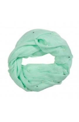 Esarfa de dama, 30% bumbac 70% viscoza, Vede menta cu perle - ES97