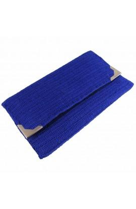 Geanta plic dama, Buticcochet, crosetata manual, Albastru