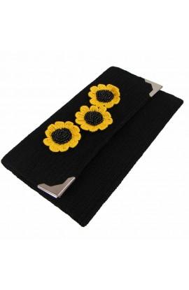Geanta plic, dama, Buticcochet, crosetata manual, Neagra, Floarea Soarelui