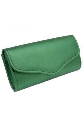 Geanta plic, pentru dama, Verde sidefat, din piele ecologica, 20x10x5 cm - GND24