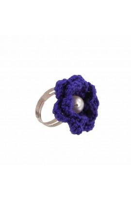 Inel Floare, dama, Buticcochet, crosetat manual, Albastru, cu Perla Alba