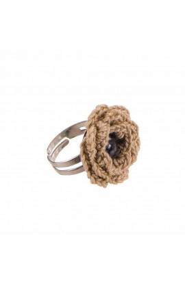 Inel Floare, dama, Buticcochet, crosetat manual, Bej, cu Perla neagra