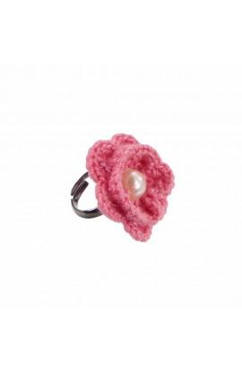 Inel Floare, dama, Buticcochet, crosetat manual, Roz, cu Perla Alba