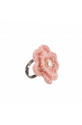 Inel Floare, dama, Buticcochet, crosetat manual, Roz pal, cu Perla alba, INRZAL06