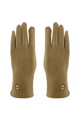 Manusi dama, cu degete, din material textil cu interior imblanit, Bej cu perle - MA18