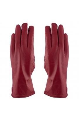Manusi dama, cu degete,Tita, din piele naturala, cu captusala imblanita, Rosu, marimea M - MA34