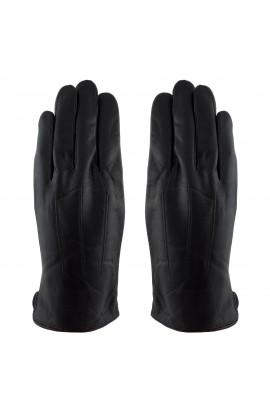 Manusi barbati, cu degete,Tita, din piele naturala, cu captusala imblanita, Negru, marime L - MA49